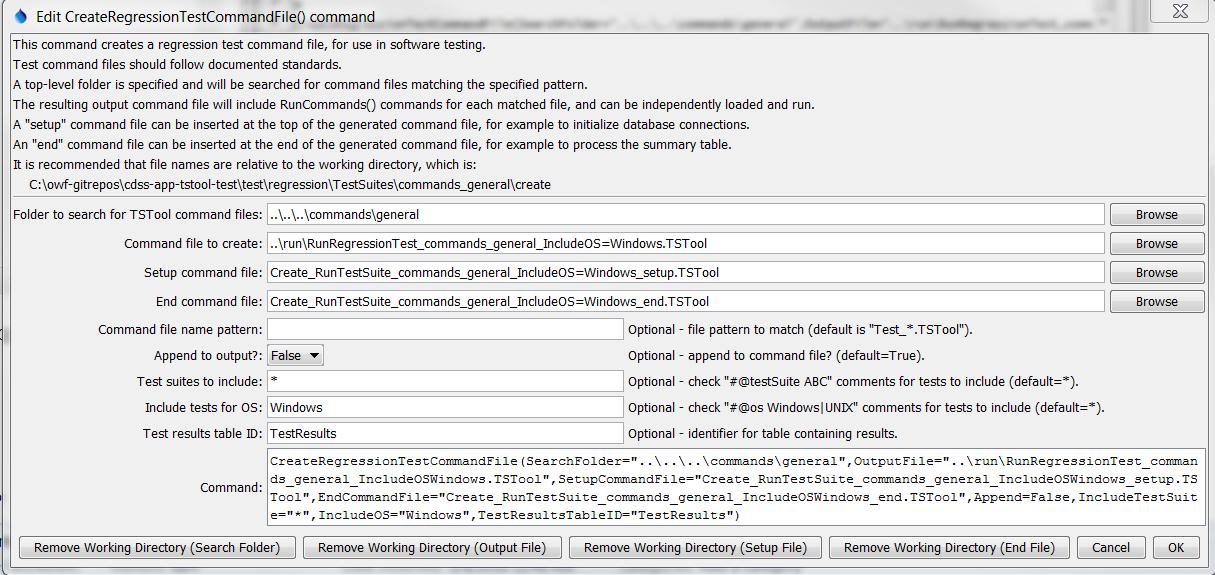 CreateRegressionTestCommandFile - CDSS / TSTool